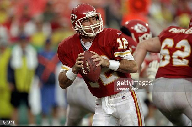 Quarterback Rich Gannon of the Kansas City Chiefs in action during the game against the San Diego Chargers at the Arrowhead Stadium in Kansas City,...