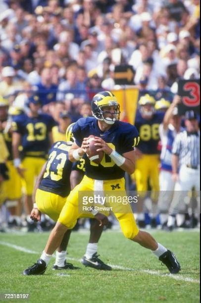 Quarterback Tom Brady of the Michigan Wolverines in action during the game against the Michigan State Spartans at the Michigan Stadium in Ann Arbor...