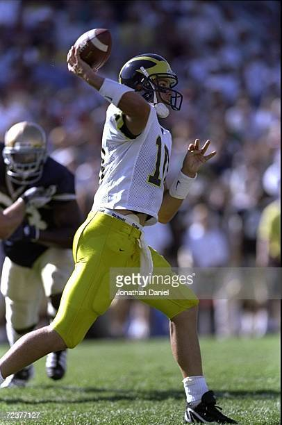 Quarterback Tom Brady of the Michigan Wolverines in action during a game against the Notre Dame Fighting Irish at the Notre Dame Stadium in South...