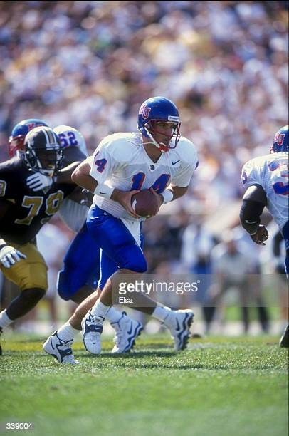 Quarterback Zac Wegner of the Kansas Jayhawks in action during the game against the Missouri Tigers at Faurot Field in Columbia, Missouri. The Tigers...