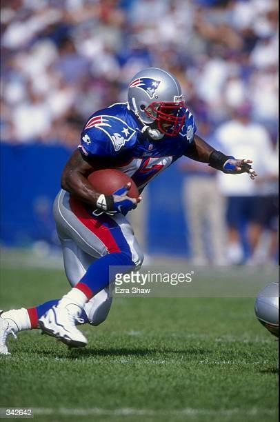 Running back Robert Edwards of the New England Patriots in action during the game against the Tennessee Oilers at the Foxboro Stadium in Foxboro...