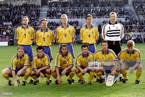 Sweden line up before the European Championship qualifier against England at the Rasunda Stadium in Stockholm Sweden Sweden won 21 Mandatory Credit...