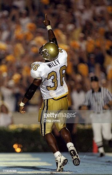 Tailback Charles Wiley of the Georgia Tech Yellow Jackets in action during the game against the North Carolina Tar Heels at the Kenan Stadium in...