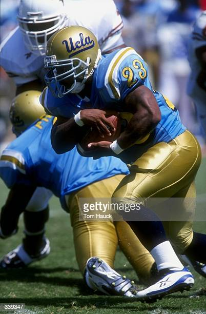 Tailback Jermaine Lewis of the UCLA Bruins in action during a game against the Texas Longhorns at the Rose Bowl in Pasadena, California. The Bruins...