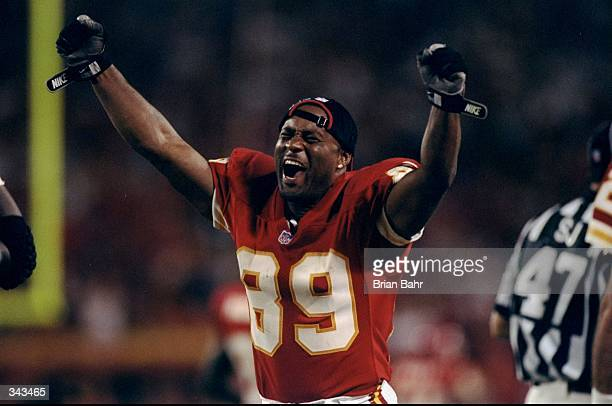 Wide receiver Andre Rison of the Kansas City Chiefs celebrates during the game against the Oakland Raiders at the Arrowhead Stadium in Kansas City...