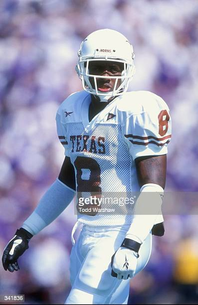 Wide receiver Wane McGarity of the Texas Longhorns looks on during a game against the Kansas State Wildcats at the KSU Wagner Field in Manhattan...