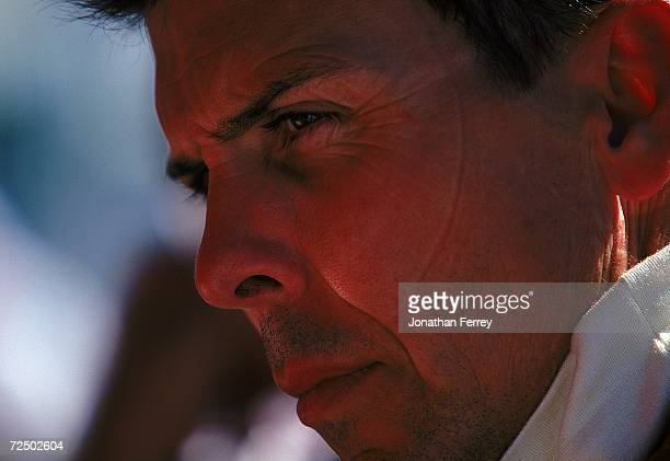 A close up of driver Scott Pruett of the USA who drives the Toyota Reynard 99I for MCI/ArcieroWells Racing looking on during practice for the Molson...
