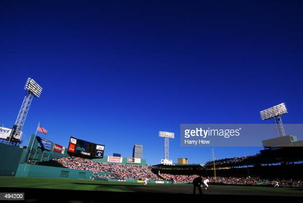 A general view of Fenway Park taken during the game between the Boston Red Sox and the Detroit Tigers at Fenway Park in Boston Massachusetts The Red...