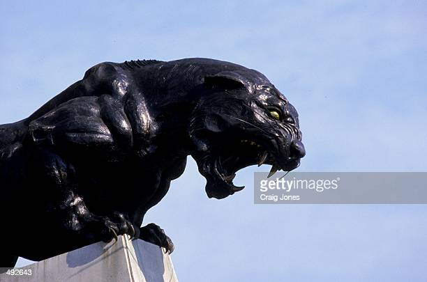 A view of a stadium statue of a panther taken during the game between the Jacksonville Jaguars and the Carolina Panthers at the Ericsson Stadium in...