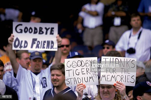 """View of the Tiger fans as they hold up signs of """"Goodbye"""" taken during the last game played at the Tiger Stadium against the Kansas City Royals in..."""