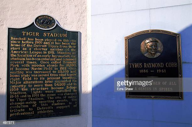 View of the Tiger Stadium with Tyrus Raymond Cobb plaque taken during the last game played at the Tiger Stadium against the Kansas City Royals in...