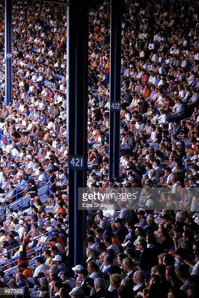 Wide view of the packed stands taken during the last game played at the Tiger Stadium against the Kansas City Royals in Detroit, Michigan. The Tigers...