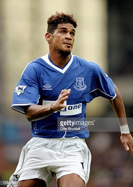 Abel Xavier of Everton in action during the Everton v West Ham United FA Carling Premiership match played at Goodison Park Liverpool England The game...