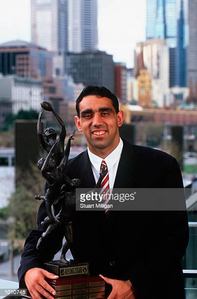 Adam Goodes of the Sydney Swans Winner of the 1999 Norwich Rising Star with his trophy The Awards was presented at the Palladium Crown Casino...