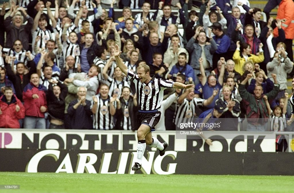 Alan Shearer of Newcastle salutes a goal during the Newcastle United v Sheffield Wednesday FA Carling Premier League match played at St. James's Park, Newcastle, England. Newcastle went on to win the game (eight) 8-0. \ Mandatory Credit: Clive Mason /Allsport