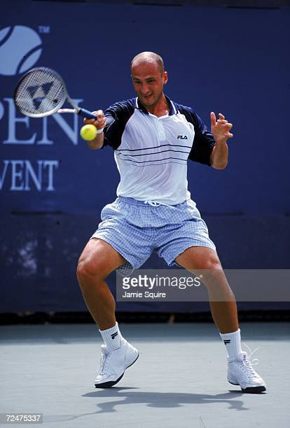 Andrei Medvedev of Ukraine returns the ball during a match in the US Open at the USTA National Tennis Courts in Flushing Meadows New York