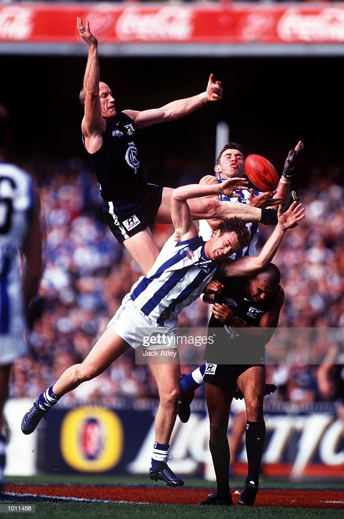 Andrew McKay #5 for Carlton flies high for the mark, in the AFL Grand Final match between the Kangaroos and Carlton, played at the Melbourne Cricket Ground, Melbourne, Australia. The Kangaroos defeated Carlton. Mandatory Credit: Jack Atley/ALLSPORT