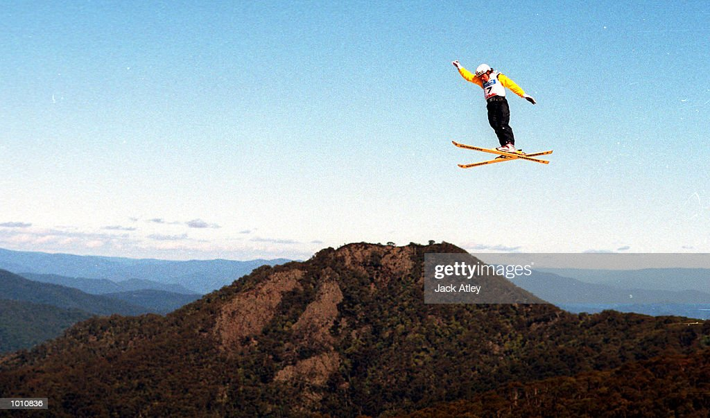 Andy Capicik of Canada flies high above the Mount Buller world cup aerials site during the first round of the 1999/2000 world cup aerials season, at Mount Buller, Australia. Capicik finished ninth in the mens section. Mandatory Credit: Jack Atley/ALLSPORT
