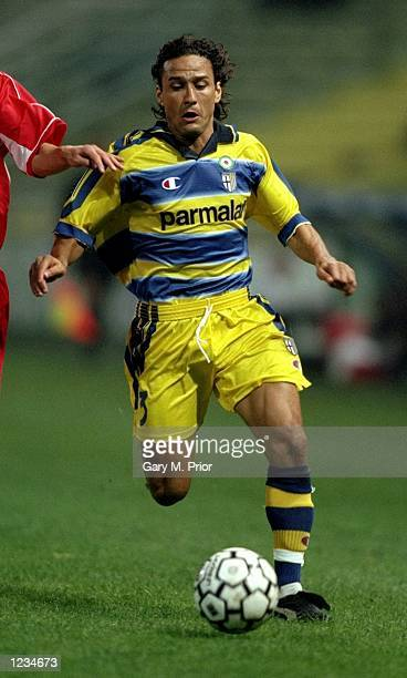Antonio Benarrivo of Parma in action during the UEFA Cup Round 1 Leg 1 match between Parma and Kryvbas FC from the Stadio Tardini Parma Italy Parma...
