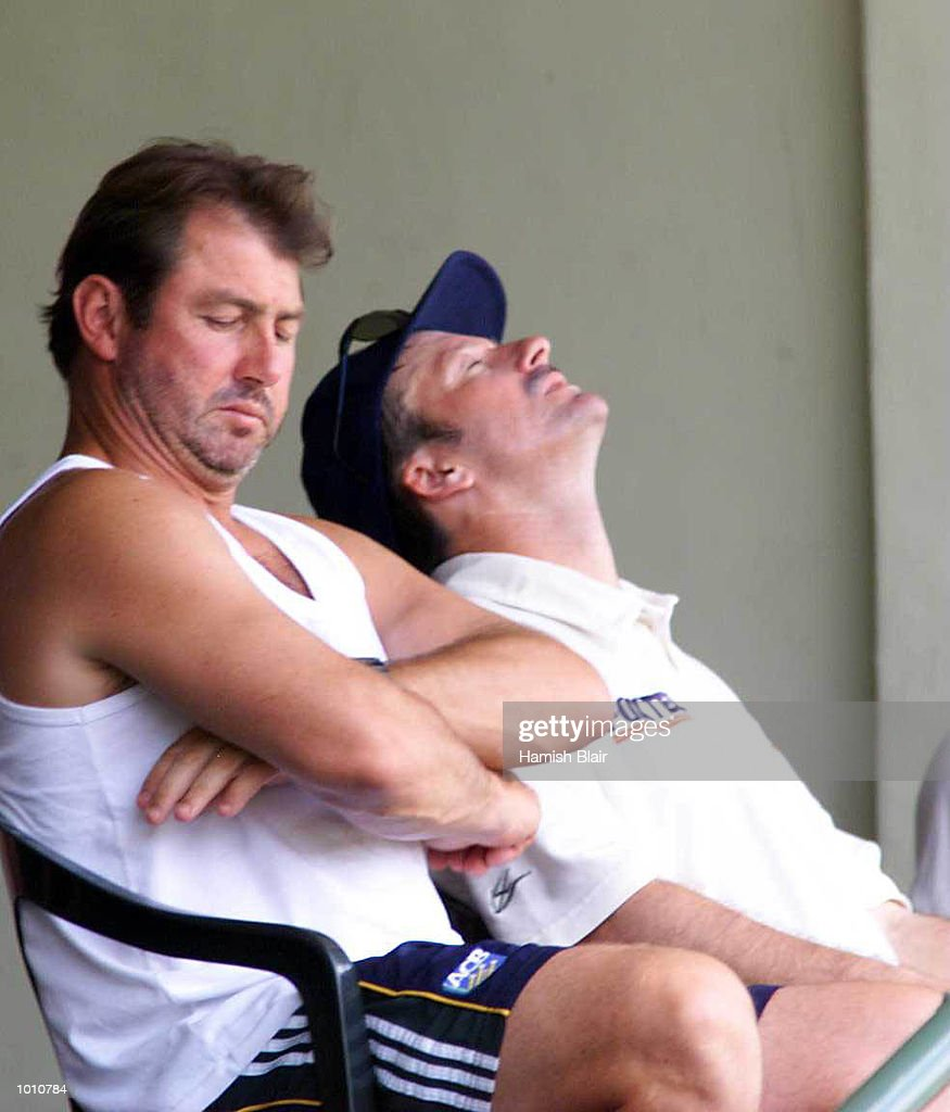 Australian captain Steve Waugh (right) shows the strain while sitting in the dressing room with coach Geoff Marsh, during day one of the First Test between Sri Lanka and Australia at Asgiriya Stadium, Kandy, Sri Lanka. Mandatory Credit: Hamish Blair/ALLSPORT