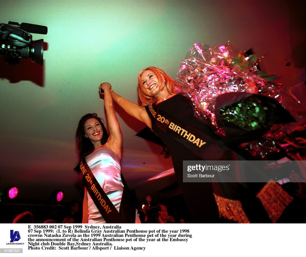 Belinda Gray Australian Penthouse Pet Of The Year 1998 Crowns Natasha Zuvela A : News Photo