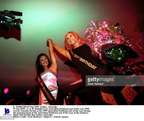 Belinda Gray Australian Penthouse Pet Of The Year 1998 Crowns Natasha Zuvela As The 1999 Australian Penthouse Pet Of The Year During The Announcement...