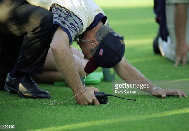 Ben Crenshaw reacts to a missed putt in the 4 ball Competition during the Ryder Cup at Brookine Golf Course in Brookline, Massachusetts. Mandatory...