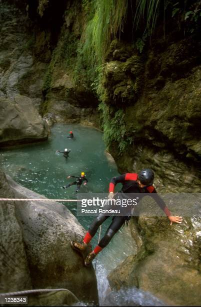 Canyoning in the Alpes Maritimes in the ProvenceAlpes region of France Mandatory Credit Pascal Rondeau /Allsport