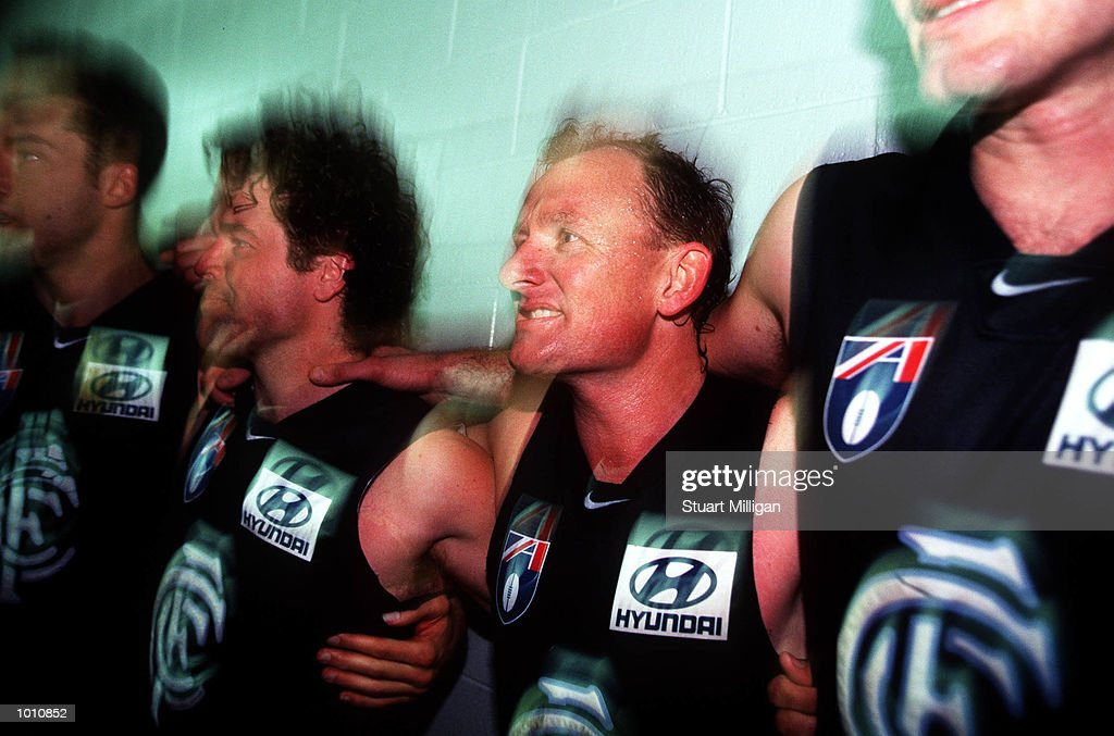 Craig Bradley #21 for Carlton celebrates after the first semi final played at the MCG, Melbourne, Victoria, Australia. Carlton eliminated West Coast from the finals series. Mandatory Credit: Stuart Milligan/ALLSPORT