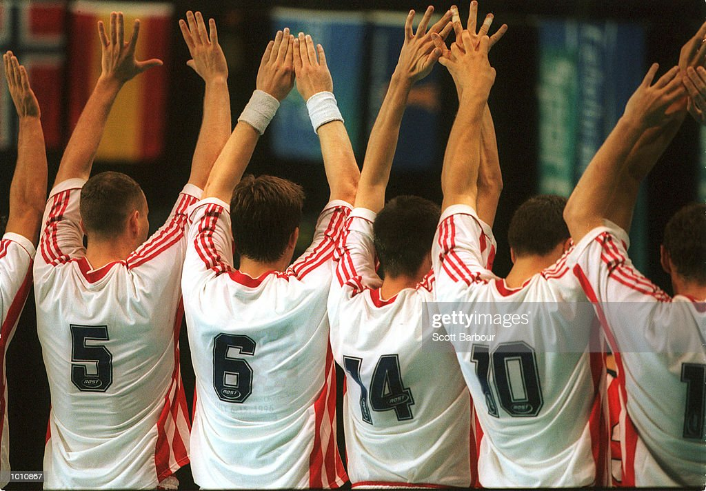 12 Sep 1999. Croatia team attempts to defend a shot for goal during the match between Japan and Croatia at the Southern Cross International Handball Challenge, a SOCOG Olympic test event, Buring Pavilion, Olympic Park Homebush, Sydney, Australia. Mandatory Credit: Scott Barbour/ALLSPORT