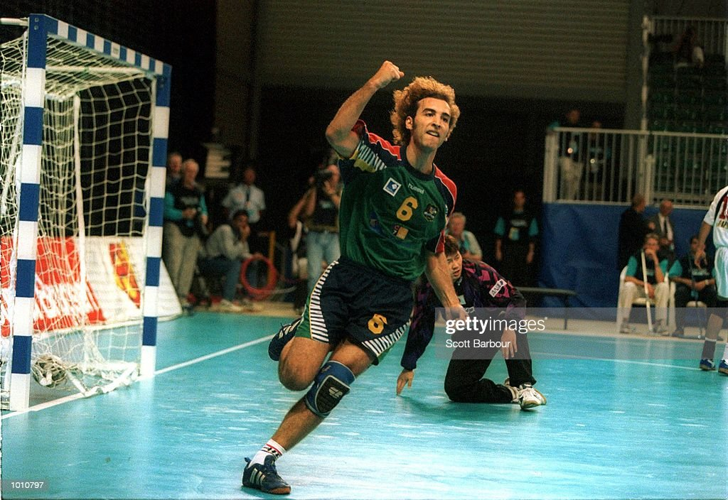 D. Gonzalez of Australia celebrates a goal during the match between Australia v Japan at the Southern Cross International Handball Challenge, at the Buring Pavilion, Sydney Olympic Park Homebush, Sydney Australia. Mandatory Credit: Scott Barbour/ALLSPORT