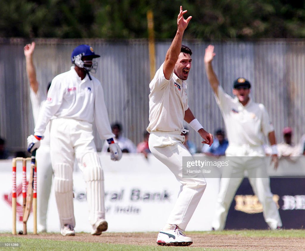 Damien Fleming of Australia appeals unsuccessfully for the the wicket of Russel Arnold of Sri Lanka, during day one of the second test between Sri Lanka and Australia at Galle International Stadium, Galle, Sri Lanka.X Mandatory Credit: Hamish Blair/ALLSPORT