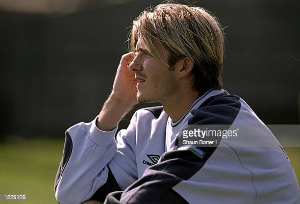 David Beckham of England fully focused before the European Championship Group 5 qualifier against Poland at the Legia Stadium in Warsaw Poland...