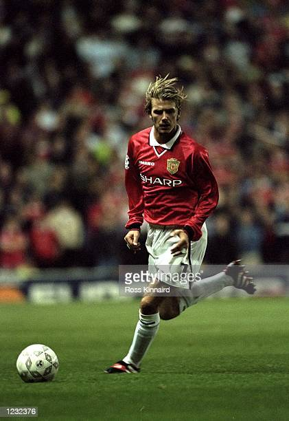 David Beckham of Manchester United in action during the Champions League clash between Manchester United and Croatia Zagreb played at Old Trafford...