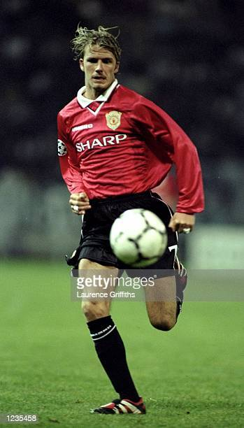 David Beckham of Manchester United in action during the UEFA Champions League match between Sturm Graz and Manchester United played at the Arnold...