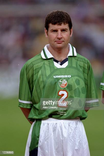 Denis Irwin of the Rep of Ireland lines up prior to the match between the Republic of Ireland and Yugoslavia in the European Championship qualifying...