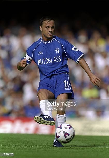 Dennis Wise of Chelsea on the ball against Newcastle United during the FA Carling Premiership match at Stamford Bridge in London Chelsea won 10...