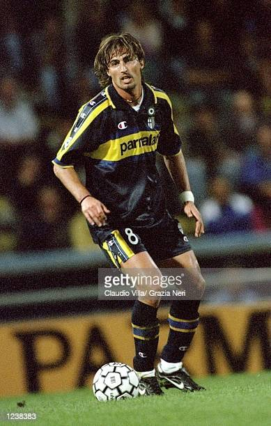 Dino Baggio of Parma in action during the Serie A match between Parma and Lazio played at the Stadio Ennio Tardini, Parma, Italy. The game finished...