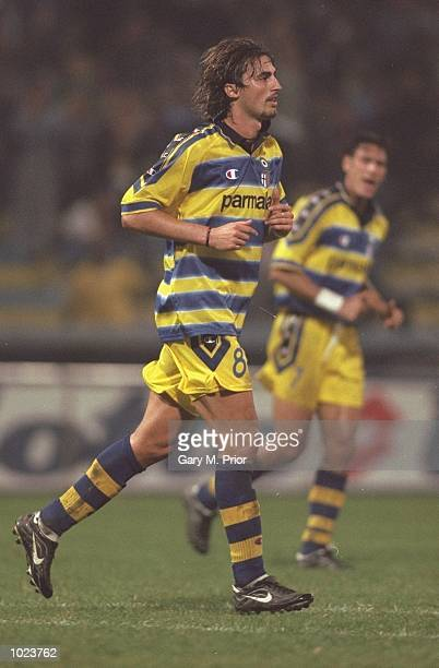 Dino Baggio of Parma in action during the Uefa Cup First Round first leg match against Kryvbas FC at the Ennio Tardini Stadium, Parma, Italy. Parma...