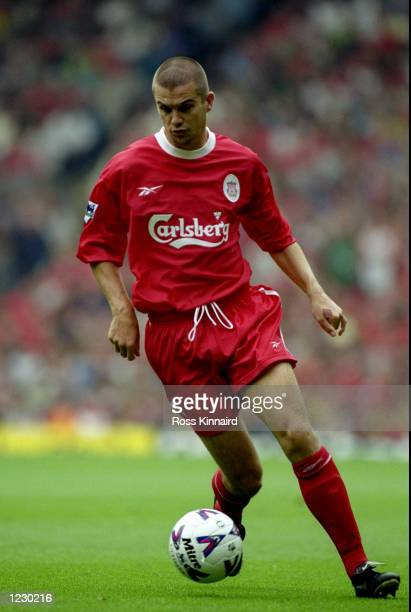 Dominic Matteo of Liverpool in action against Manchester United during the FA Carling Premiership match at Anfield in Liverpool, England. United won...