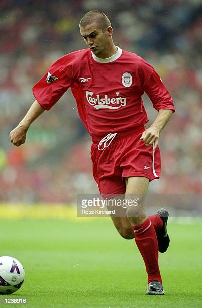 Dominic Matteo of Liverpool in action during the Premiership match between Liverpool and Manchester United, played at Anfield, Liverpool, England....