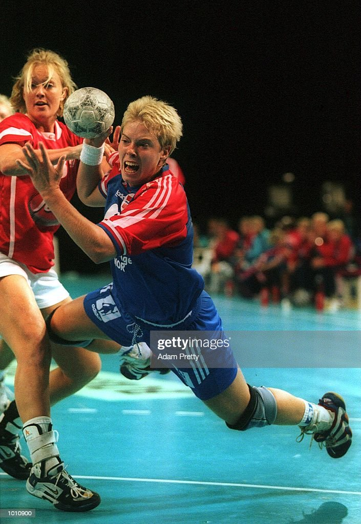 E. Sorlie of Norway dives for the goal during the gold medal game vs Denmark. Denmark won the game, at the Southern Cross International Handball Challenge, a SOCOG Olympic test event, Buring Pavilion, Olympic Park Homebush Sydney Australia.Mandatory Credit: Adam Pretty/ALLSPORT