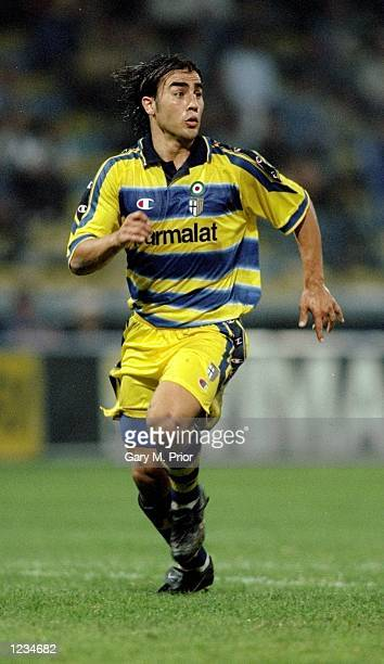Fabio Cannavaro of Parma in action during the UEFA Cup Round 1 Leg 1 match between Parma and Kryvbas FC from the Stadio Tardini Parma Italy Parma...
