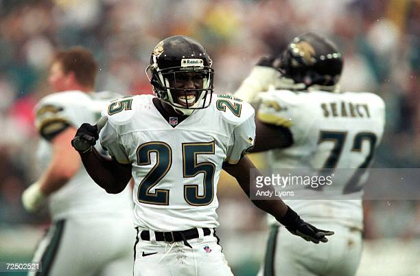 Fernando Bryant of the Jacksonville Jaguars celebrates during the game against the San Francisco 49ers at the Alltell Stadium in Jacksonville Florida...