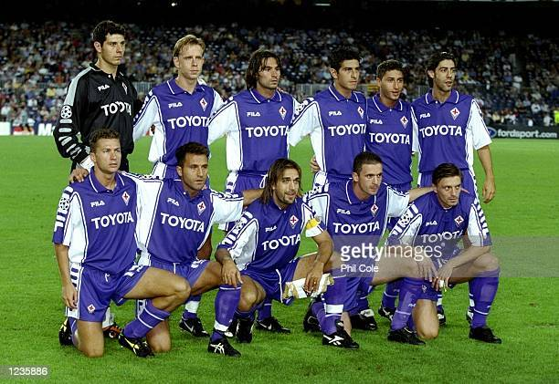 Fiorentina line up to face Barcelona in the UEFA Champions League group B match at the Nou Camp in Barcelona Spain Barcelona won 42 Mandatory Credit...