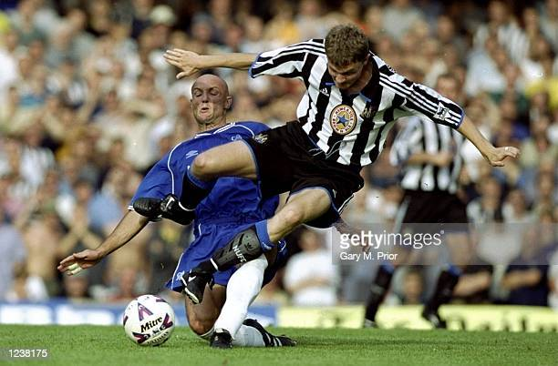 Frank Leboeuf of Chelsea battles with Paul Robinson of Newcastle during the FA Carling Premier League match between Chelsea and Newcastle United...