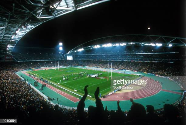 General view of Stadium Australia with a record crowd of 107,042 with the Tri Nation rugby match between Australia and New Zealand prior to the 2000...