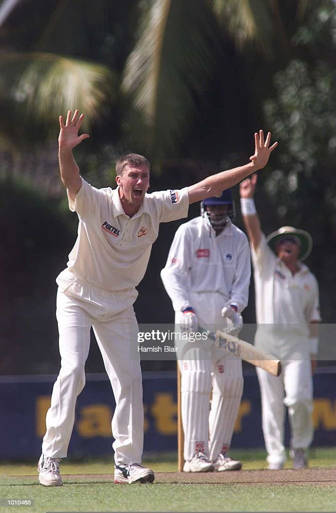 Glenn McGrath of Australia appeals for LBW against Russel Arnold of the Board XI, during day one of the tour match between the Sri Lanka Board XI and Australia at Saravanamuttu Stadium, Colombo, Sri Lanka. Mandatory Credit: Hamish Blair/ALLSPORT