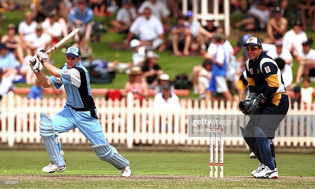 Graeme Rummans of NSW Blues square cuts during his innings of 45 as wicketkeeper Darren Berry of Victorian Bushrangers looks on during the Mercantile Cup Cricket at the North Sydney Oval, Sydney, Australia. Mandatory Credit: Scott Barbour/ALLSPORT