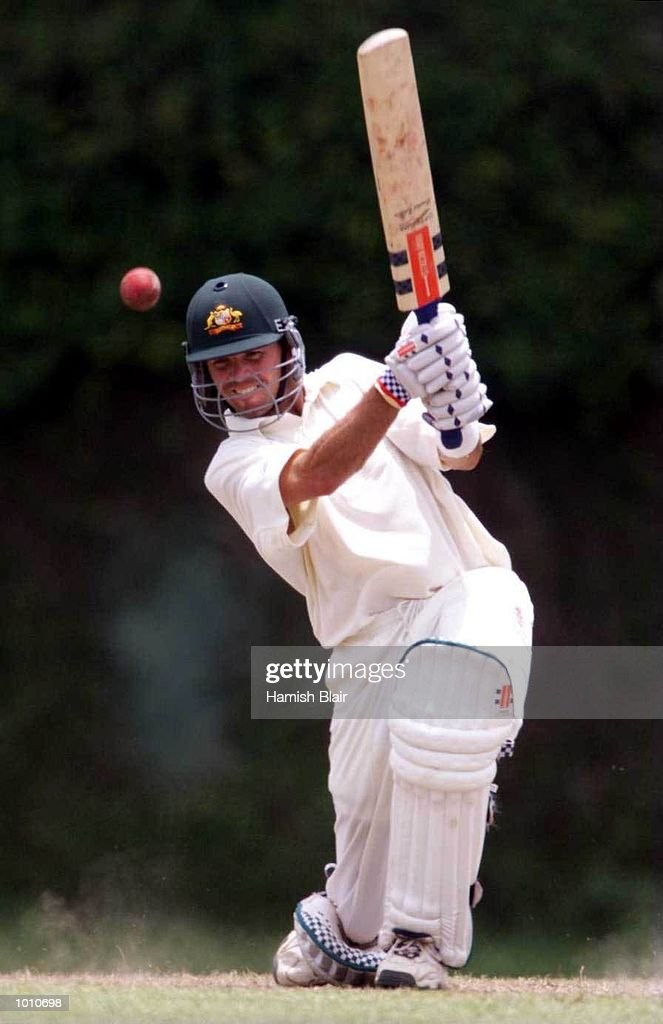 Greg Blewett of Australia on the attack, during day four of the tour match between the Sri Lanka Board XI and Australia at Saravanamuttu Stadium, Colombo, Sri Lanka. Mandatory Credit: Hamish Blair/ALLSPORT